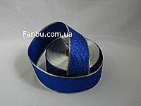 Новогодняя блестящая синяя лента с глиттером для бантов с проволочным краем 1упаковка-50ярдов(ширина 5 см)