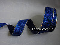 Новогодняя блестящая синяя лента с глиттером для бантов с проволочным краем на метраж(ширина 5 см), фото 1
