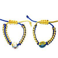Браслет плетеный сине-желтый , текстиль.