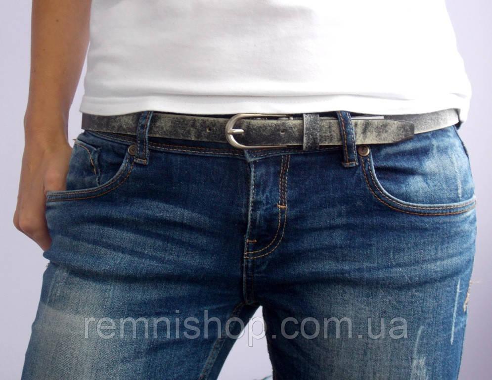Кожаный женский пояс JK серый