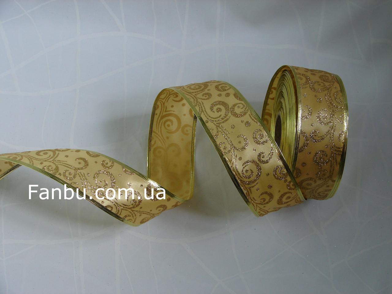 Атласная золотая лента с золотым рисунком и с проволочным краем для бантов на метраж(ширина 5см), фото 1