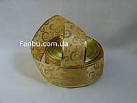 Атласная золотая лента с золотым рисунком и с проволочным краем для бантов 1упаковка-45м(ширина 5см), фото 1