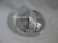 Атласная белая с серебром лента с проволочным краем для бантов 1 рулон-50ярдов(ширина 5см)