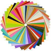 Набор жесткого фетра 44 цвета 1 мм 10x10 см