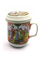 Чашка керамическая заварочная с ситом Девушки