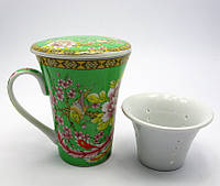 Чашка чайная керамика заварочная с ситом Фазаны