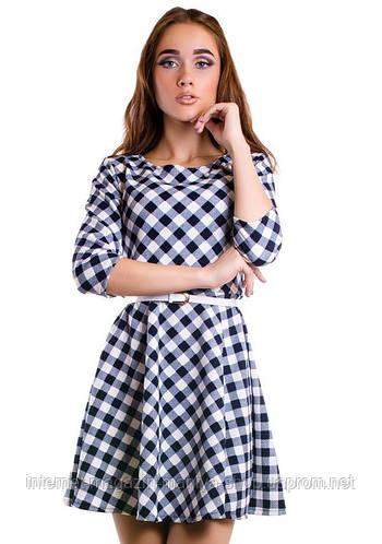 Платье женское с поясом клетка