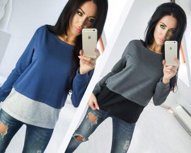 Двухцветная Кофта рубашка туника блузка Фишка