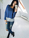 Двухцветная Кофта рубашка туника блузка Фишка, фото 2