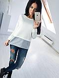 Двухцветная Кофта рубашка туника блузка Фишка, фото 3