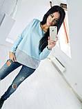 Двухцветная Кофта рубашка туника блузка Фишка, фото 9