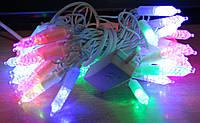 Гирлянда Микс 4х цветная Сосулька,50 больших лед ламп,белый кабель,1режим