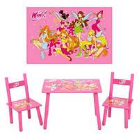 Деревянный столик М 1508 и два стульчика Феи Winx
