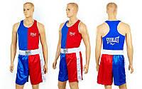Форма боксерская ELAST VL-3063-B (PL, р-р S-L, майка красный-синий, шорты красный-синий)