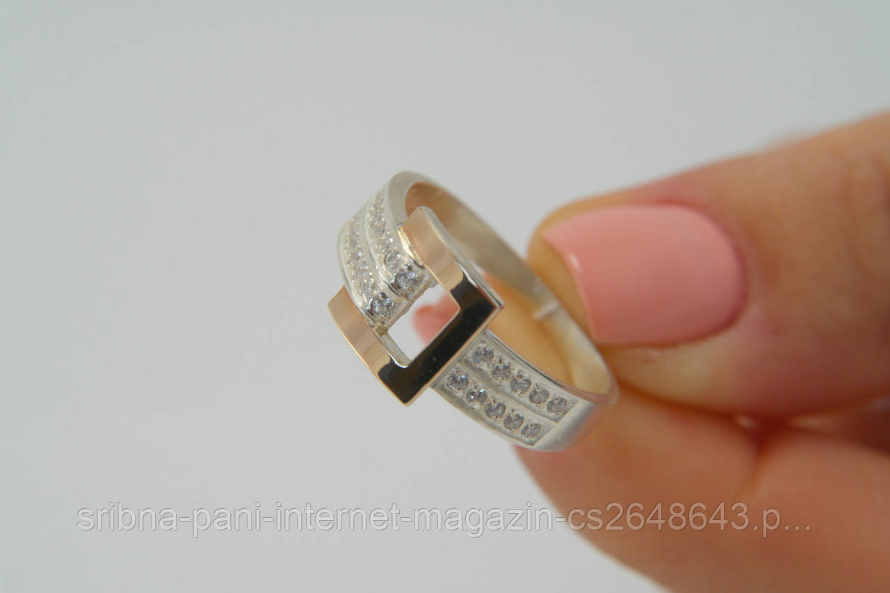 Женское кольцо из серебра 925 пробы в виде пряжки с золотой пластиной c51b1cc4d33fe