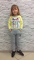 Костюм для девочки трикотаж (кофта+штаны) на флисе, Турция 5 размеров. желтый