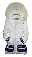 """Зимнее пальто для девочки """"Белоснежка"""" (128см дл пал-70см,дл рук от пл-50см)"""