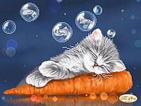 Котенок и морковка