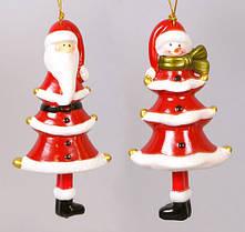 """Елочная подвеска-колокольчик """"Санта, Снеговик"""" (10см, 2 вида) 175-A4"""
