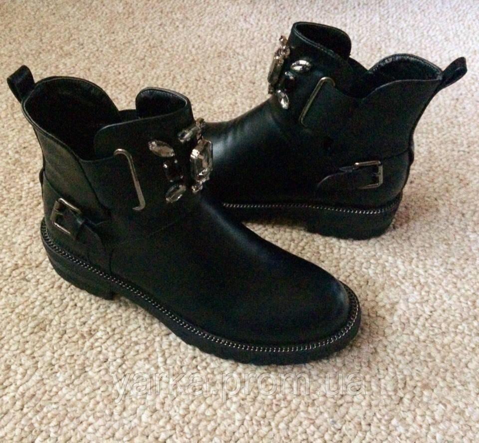 33d91b759 Женские демисезонные ботинки челси на низком каблуке, украшены камнями  36-40 -