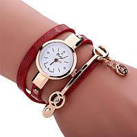 Женские наручные часы-браслет кварцевые с красным ремешком Duoya красные, фото 1