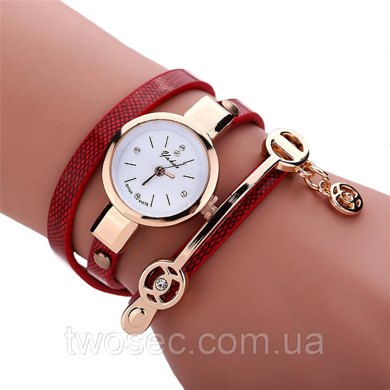 Женские наручные часы-браслет кварцевые с красным ремешком Duoya красные