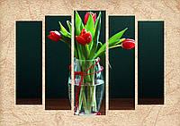 """Модульная картина """"Букет тюльпанов"""""""