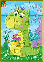 Пазлы мягкие 12эл. Зеленый динозавр А5
