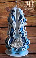 Резная свеча с ангелочком, хороший подарок ручной работы, сувенирная свеча