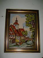 "Картина с вышивкой ""Водяная мельница"""