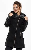 Теплое женское зимнее пальто турецкий кашемир с капюшоном, цвет черный