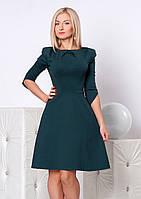 Женское платье бутылочного цвета с рукавом три четверти и юбкой-клеш. Модель 946 SL.