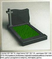 Двойной гранитный памятник с крестом Д - 002