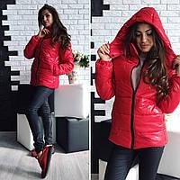 Теплая женская куртка утеплитель синтепон на молнии, есть капюшон, цвет красный