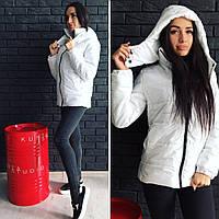 Теплая женская куртка утеплитель синтепон на молнии, есть капюшон, цвет белый
