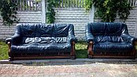 Диваны кожанные 3+2 Франция, комплект кожаной мебели Гризли. Мебель бу из Европы