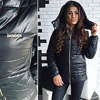 Теплая женская куртка утеплитель синтепон на молнии, есть капюшон, цвет черный
