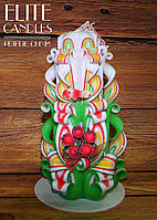 Хороший подарок ручной работы, сувенирная резная свеча, украшена птичкой и веточкой калины