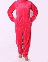 Малиновая махровая женская пижама. Размер: 42-52
