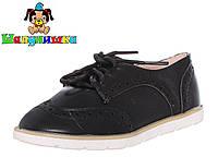 Закрытые детские туфли на шнурках черного цвета 25-30 размер