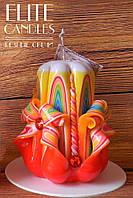 Радужная Резная свеча, хороший подарок ручной работы, сувенирная свеча, вскрыта специальным свечным лаком