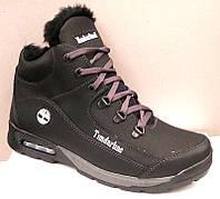Ботинки мужские зимние Timberland кожаные черные T0029