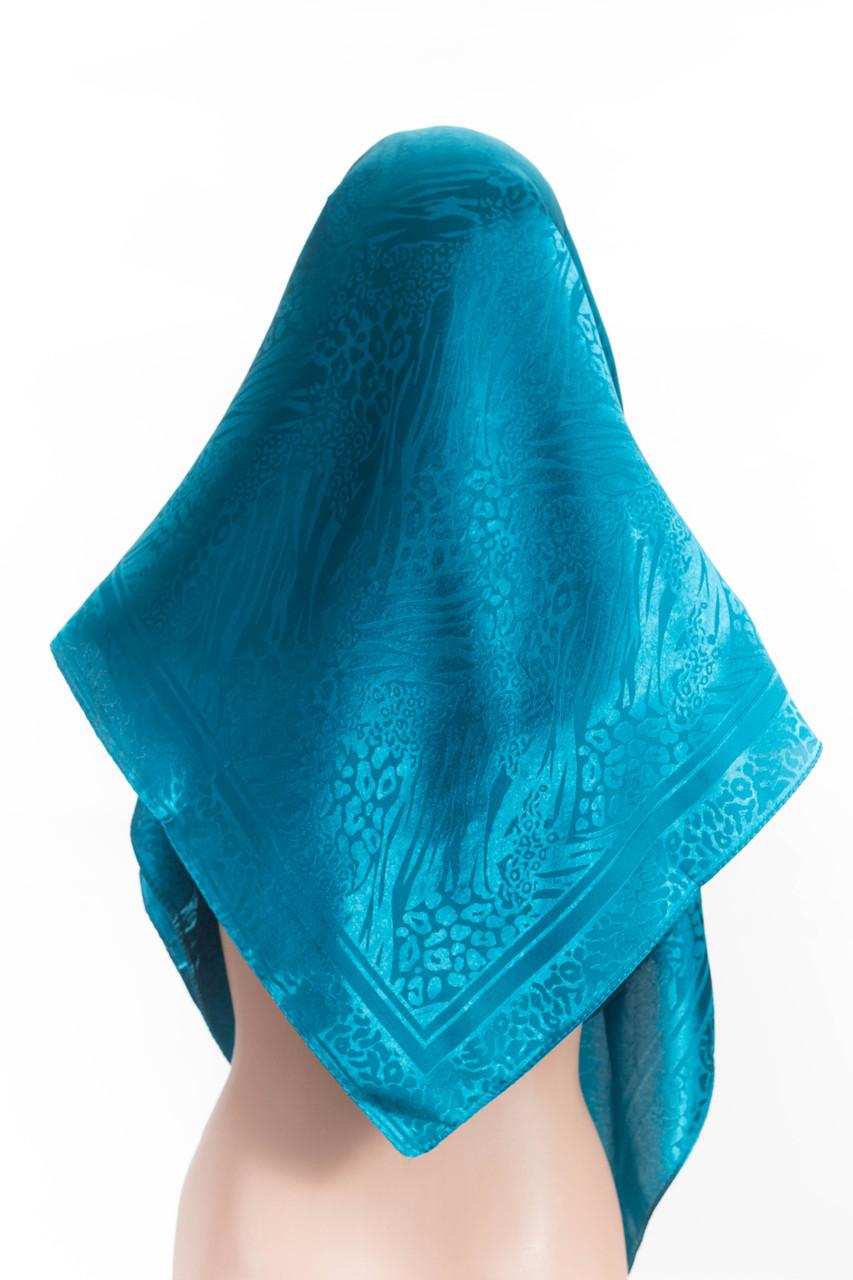 Атласный платок бирюзовый