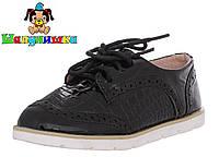 Закрытые детские лакированные туфли на шнурках черного цвета 25-30 размер