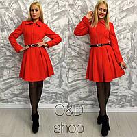 Элегантное женское кашемировое пальто с отложным воротником и расклешенным низом, красное