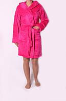 Качественный теплый махровый женский халат с капюшоном