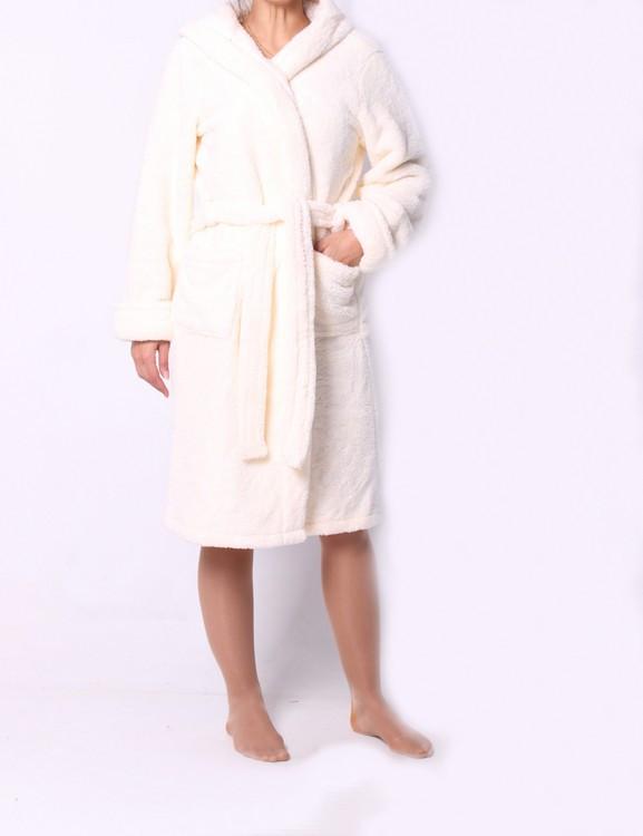 Молочный женский махровый халат. Размер: 42-50