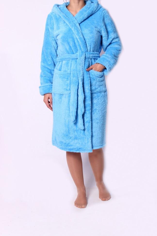Стильный мягкий махровый халат голубого цвета с капюшоном