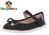 Черные детские туфли с оригинальным бантиком  30-35 размер