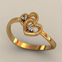 Золотое колечко с двумя маленькими сердечком 585* пробы